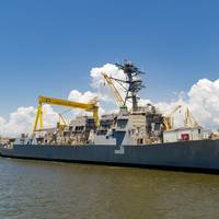 File photo: Ingalls Shipbuilding launched the Arleigh Burke-class destroyer Frank E. Petersen Jr. (DDG 121) on in August 2018. (Photo: HII)