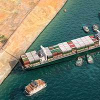 Illustration of the Ever Given blocking the Suez Canal - Credit: Corona Borealis/AdobeStock
