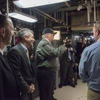 Image: Adm. John Richardson, chief of naval operations, Mike Petters, HII president and CEO and President Donald Trump touring Gerald R. Ford (CVN 78)  (CREDIT: HII)