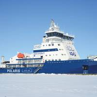 In 2016 the most recent Finnish icebreaker, Ib Polaris, was built at a cost of EUR123m. Arctia Ltd. received an LNG fueled double-acting PC4 class icebreaker capable of penetrating 1.8m thick level ice with a speed of 3.5 knots. Photo: Tuomas Romu and Arctia Ltd.