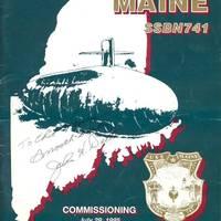 Maine (SSBN-741) Commissioning Program signed by the SECNAV. (Courtesy of Chester O. Morris)