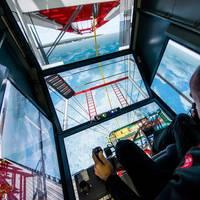 Inside the crane simulator (Photo: Peel Ports)
