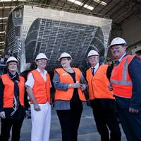 Inspecting one of the two OPV-sized High Speed Support Vessels designed and constructed at Austal's Western Australia shipyard are (from left); Western Australia Premier Colin Barnett, Senator Linda Reynolds, Chief of Navy Vice Admiral Tim Barrett, Minister for Defence Senator Marise Payne, Senator Chris Back and Austal Programs Manager, Ben Wardle. (Photo: Austal)