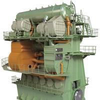 Integrated design of EGR unit (orange) into an MAN B&W 6G70ME-C9 engine (Image: MAN Diesel & Turbo)