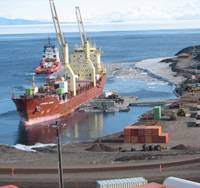 Military Sealift Command-chartered cargo ship MV Green Wave -  seen here next to a modular causeway system used to off-load cargo - delivered more than 6.8 million pounds of supplies to McMurdo Station, Antarctica Feb. 14-24.  The ship's delivery was part of Operation Deep Freeze, the annual resupply mission to McMurdo, and followed MSC-chartered tanker MT Maersk Peary, which brought more than 6.3 million gallons of fuel to the station in late January. -- U.S. Navy photo by Larry Larsson