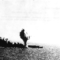 Japanese aircraft carrier Shoho is torpedoed, during attacks by U.S. Navy carrier aircraft in the late morning of 7 May 1942. Photographed from a USS Lexington (CV-2) plane. Official U.S. Navy Photograph, National Archives