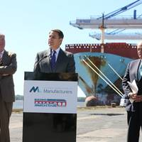 Jay Timmons, NAM President and CEO, discusses infrastructure survey results at the Port of Philadelphia. Also pictured, Port of Philadelphia Executive Director James McDermott (Left) and BAF Co-Chair and Former Pennsylvania Governor Ed Rendell (Right). Please credit National Association of Manufacturers/David Bohrer.