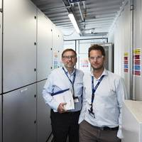 Jens Hjorteset (right) is the Technical Product Manager for SAVe Energy. Erling Johannesen (left) is the Site Manager at Rolls-Royce Power Electric Systems department in Bergen, Norway. (Photo: Øystein Klakegg/Rolls-Royce Marine)