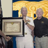 J.J. Marie, ADM Bonelli, and Jack Lynch, UDT-SEAL Association President.