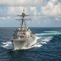 John Finn (DDG 113) sails the Gulf of Mexico during Alpha  sea trials in October (Photo by Lance Davis/HII).