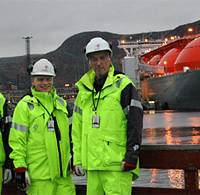 Kai-Otto Nilsen, Petter Fagerheim, Cato Osenbroch and Torfinn Isaksen with the special vessel Arctic Voyager in the background (Photo: Statoil)