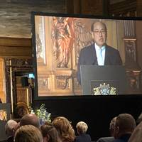 Kitack Lim, Secretary General of the IMO, addressing dignitaries last night at the opening ceremony of the SMM in Hamburg, Germany. Photo: Greg Trauthwein.