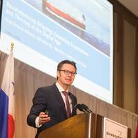 Knut Ørbeck-Nilssen, CEO of DNV GL – Maritime and IACS Chairman, speaking at CMA Shipping 2018 (Photo: DNV GL / CMA Shipping 2018)