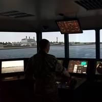 Kongsberg ship's bridge simulator at a DALO training center in Denmark.(Photo: Kongsberg)