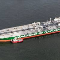 Korolev Prospect is being berthed for bunkering with LNG at the Port of Rotterdam. Image: SCF Press Service