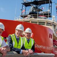 L to R: Grampian Devotion Master, Malcolm Trott, with Craig Group chairman and managing director, Douglas Craig, and North Star Shipping managing director, Callum Bruce.