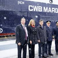 (L to R) Lafarge Purchasing Manager for Eastern Canada Ken Lerner, U.S. Saint Lawrence Seaway Development Corporation Administrator Betty Sutton, Saint Lawrence Seaway Management Corporation CEO Terence Bowles, Chief Engineer David Michalowicz, Captain Seann O'Donoughue, and CWB CEO Ian White in front of the CWB Marquis, April 2.