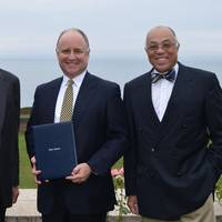 L to R - President R. Keith Michel, Thomas B. Crowley, Jr., Dr. George Campbell, Jr. (Photo: Webb Institute)