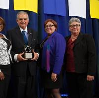 L to R: WTS President & CEO Marcia Ferranto, Transportation YOU student Sabrina Gantt, Ray LaHood, Deputy Transportation Secretary for the NYS Governor's Office Karen Rae, WTS Chair, Dana Hook, P.E.