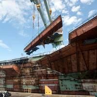 Last CVN 78 Hull Superlift: Photo credit HII