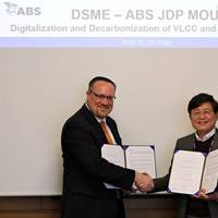 Left to right: Esa Jokioinen, Caption: Patrick Ryan, ABS Senior Vice President Engineering and Technology and Mr. Dong Kyu Choi, DSME Executive Vice President. Photo: ABS