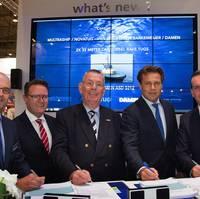 Left to right: Mijndert Wiesenekker, Sales Director Benelux Damen; Pepijn Nuijten, Multraship; Kees Muller, Multraship; Arnout Damen, CCO Damen; and Leendert Muller, Multraship. (Photo: Multraship)