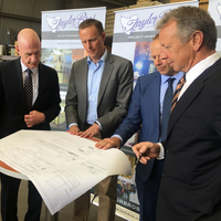 left to right:  Mr. Peter Gutwein (the Tasmanian Minister for State Growth), Mr. Magiel Venema (Damen Australia Project Director), Mr. Greg Taylor (Taylor Bros), Mr. Phillip Taylor (Taylor Bros) (Photo: DSNS)