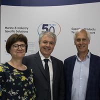 Left to Right: Rea Papadopoulos, Eleftherios Papadopoulos and Malcolm McMaster (Photo: Globecomm)
