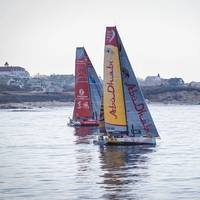 Leg 6 Arrivals in Newport. After 17 days at sea it came down to an extremely close finish between Dongfeng Race Team and Abu Dhabi Ocean, here seen by Block Island on the approach to Newport. Photo: Volvo Ocean Race