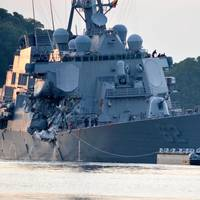 The Arleigh Burke-class guided-missile destroyer USS Fitzgerald (DDG 62) was damaged in a collision with a merchant vessel while operating southwest of Yokosuka, Japan (U. S. Navy photo by Peter Burghart)