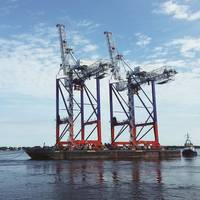 Liebherr STS cranes en route to Fenix Container Terminal, Port of Bronka, St Petersburg (Photo: Liebherr)