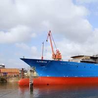 Ljubica at the Zamakona Yards shipyard in Bilbao. (Photo courtesy of Zamakona Yards)