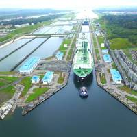 LNG tanker Maria Energy completed the milestone transit traveling from the Atlantic to the Pacific Ocean on July 29. (Photo: Panama Canal Authority)