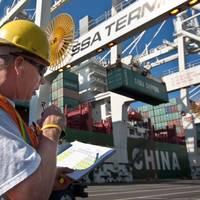 Longshoreman at T30 terminal: Photo courtesy of Port of Seattle