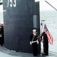Los Angeles-class fast attack submarine USS Albany (SSN 573) is commissioned at Naval Station Norfolk (Official USN photo by Michael D.P. Flynn, courtesy of Newport News Shipbuilding, from the Department of Defense Still Media Collection)