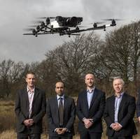 (L-R) Malcolm Connolly Technical Director at Cyberhawk, Usman Ali from the Banks' Growth Finance team, Craig Roberts CEO at Cyberhawk, David McIntyre Chief Financial Officer at Cyberhawk Innovations and Nick Edgar, Senior Director, Growth Finance at Clydesdale and Yorkshire Banks Photo Cyberhawk