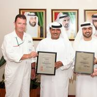 (l-r) Mark Morris, Director - Global HSEQ; Khamis Juma Buamim, Chairman; Mohammad  Alawadhi, Global Quality Manager; Dr. Markus Voege VP Operations & Production DDW