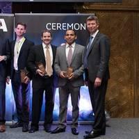 (l-r) Pierre Blayau, CEO SNCF Geodis & Chairman of Geodis; Rutger Jonker (Team Netherlands); Martin Henriksen (Team Nordic); Steven Pike (Hong Kong); Raj Kiran Pant (India); Kim Pedersen, Executive Vice President, Geodis Wilson.