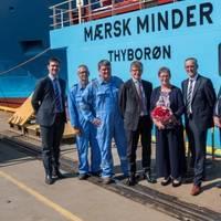 Maersk Minder was christened during a ceremony at Kleven Verft. Pictured is sponsor Anni Bak with Chief Technical Officer in Maersk Supply Service Peter Kragh Jacobsen and CEO Kleven Karsten Sævik by her side. (Photo: Kleven)
