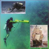 Main: diver uses Diver Mag on reef. Top: diver searches with PT-1. Bottom: Le Griffon.