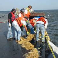 Mariners participate in an oil spill response drill. Photo courtesy Eric Helpenstell. Photo courtesy Eric Helpenstell.