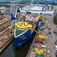 Damen Shiprepair Amsterdam (DSAm) completed a conversion project for Norwegian company Eidsvaag which saw a platform supply vessel (PSV) transformed into a fish feed carrier dubbed Eidsvaag Opal. Photo: Damen