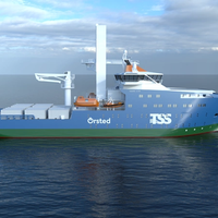 Mock-up of the Service Operations Vessel to be deployed on Ørsted's Greater Changhua offshore wind farms. The detailed design of the vessel is yet to be finalized. Image Credit: Orsted