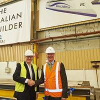 Mols Chairman Frantz Palludan and Austal CEO David Singleton at First Plate-Cutting for 'Express 4' at Austal's Shipyard in Henderson, Western Australia (Photo: Austal)