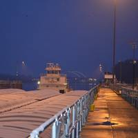 M/V New Dawn broke through Lake Pepin ice overnight and locked through Lock and Dam 2 around 7:45 a.m. on March 25 (Photo by Pamela Niebur)