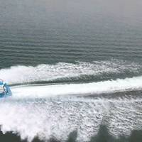 NAMJet's 10 meter demonstration boat underway at full speed (Credit: NAMJet)