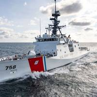 National security cutter Stone (WMSL 758) spent three days in the Gulf of Mexico testing propulsion and auxiliary equipment, as well as various shipboard systems. (Photo: Lance Davis/Huntington Ingalls Industries)