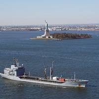 Navigating New York Harbor: Photo courtesy of USN