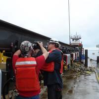 Konecranes service technicians prepare the new CXT hoists prior to installation. (Photo: Konecranes)