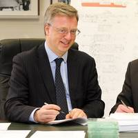 NERC chief operating officer Paul Fox and Cammell Laird CEO John Syvret seal the deal in Birkenhead on November 19 (Photo: Cammell Laird)